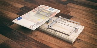 Euros banknotes on a mouse trap isolated on wooden background. 3d illustration. Fifty euros banknotes on a mouse trap isolated on wooden background. 3d Stock Images