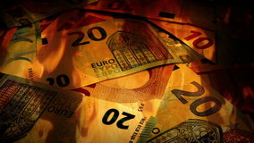 Euros Banknotes Rotating In Fire stock video footage