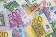 20 50 100 200 500 euros bills. As background stock photo
