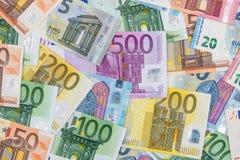 20 50 100 200 500 euros bills Stock Images