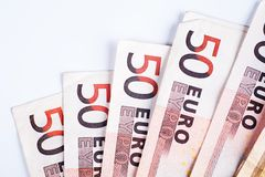 50 Euros Bills Royalty Free Stock Photos