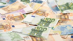 Euros bills of different values. Euro bill of one hundred stock photography