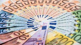 Euros bills of different values. Euro cash money stock photos