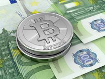 Euros and Bitcoin. Image of Euros and Bitcoin Royalty Free Stock Images