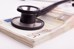 Euros with Black Stethoscope Stock Images