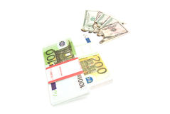Euros and burned bills Royalty Free Stock Image