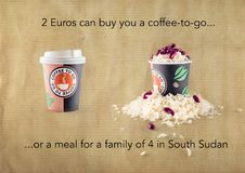 2 Euros buy a coffee or a meal for 4 in South Sudan. The estimation is based in an average of 700 calories per meal. Prizes for rice and beans are taken from the Stock Photos