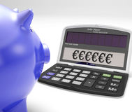 Euros In Calculator Shows Currency en Investering Royalty-vrije Stock Afbeelding