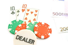 Euros, cards and chips Royalty Free Stock Image