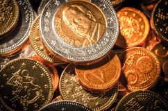 Euros of chocolate. Sweet candy of chocolate coins Stock Images