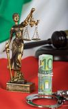 Euros close to the statue of Themis. Italian flag in the background stock photos