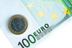 101 Euros Closeup Imágenes de archivo libres de regalías