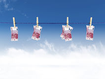 Euros on a clothesline Royalty Free Stock Image