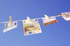 Euros on clothesline Royalty Free Stock Image