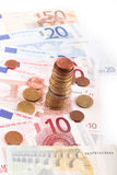 Euros coins and banknotes Stock Photography