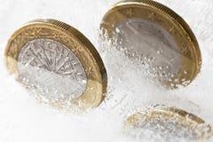Euros congelados Foto de archivo libre de regalías