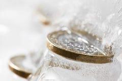Euros congelados Fotografía de archivo libre de regalías