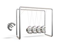 Euros cradle. Newton's cradle with euro symbols isolated on a white background Royalty Free Stock Photography