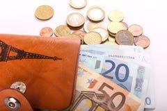 Euros dans le portefeuille Photographie stock libre de droits