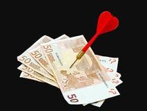 Euros de la blanco - notas con la metáfora roja del dardo Imagenes de archivo