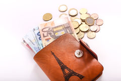 Euros de portefeuille Image stock