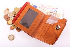 Euros de portefeuille Images stock