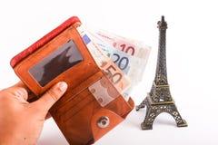 Euros de portefeuille de touristes - l'Europe Images stock