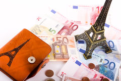 Euros de portefeuille de touristes - l'Europe Photographie stock