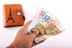 Euros de portefeuille de touristes - l'Europe Photo libre de droits