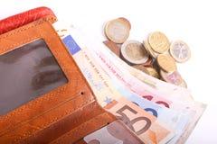 Euros de portefeuille de voyage - Frances Images stock
