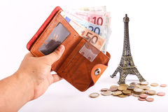 Euros de portefeuille de voyage - Frances Photos libres de droits