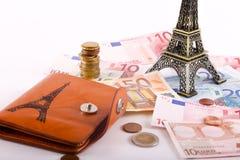 Euros de portefeuille de voyage - Frances Image stock