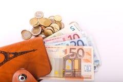 Euros de portefeuille de voyage - Frances Photo libre de droits