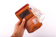 Euros de portefeuille de voyage - Frances Photos stock