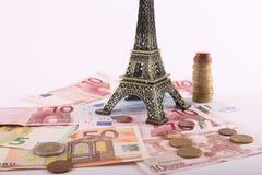 Euros de portefeuille de voyage - Frances Photographie stock libre de droits
