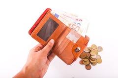 Euros de portefeuille de voyage - Frances Photographie stock