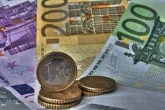Euros del dinero Fotos de archivo