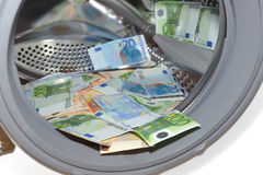 Euros dentro da máquina de lavar, conceito da lavagem de dinheiro imagens de stock royalty free