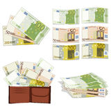 Euros in different forms Stock Photos
