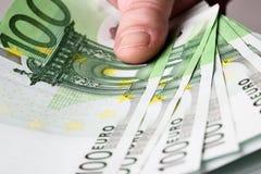 Euros a disposición Imagen de archivo libre de regalías
