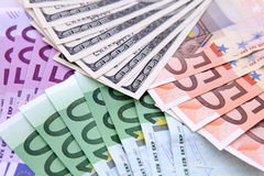 Euros and dollars Royalty Free Stock Photo