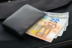 Euros and Dollars Royalty Free Stock Photo