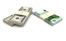 Euros and Dollars stacks. One pile of Euros and two piles of Dollars on white background. Three dimensional illustration Stock Illustration