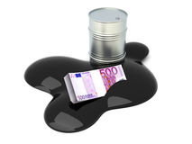 Euros drowned in Oil Stock Images