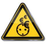 Euros, eletricidade, economia de poder e consumo de potência foto de stock