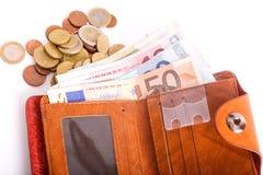 Euros en cartera Fotografía de archivo libre de regalías