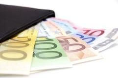 Euros en cartera Imagenes de archivo