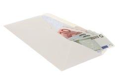 Euros en sobre Fotos de archivo libres de regalías