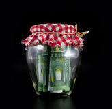 Euros en un tarro Foto de archivo libre de regalías
