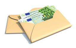 Euros in envelope 3D. Render illustration isolated on white background stock illustration